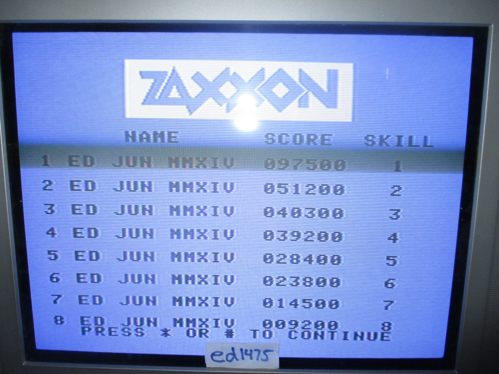 ed1475: Zaxxon Super Game: Skill 1 (Colecovision) 97,500 points on 2014-06-13 14:54:56