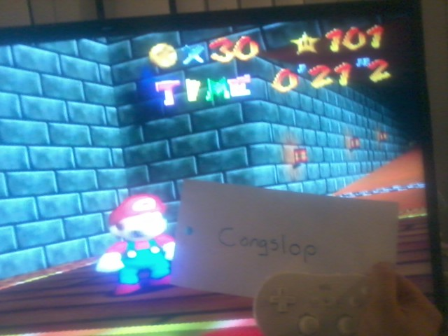 Congslop: Super Mario 64: The Princesses Secret Slide (Wii Virtual Console: N64) 0:00:21.2 points on 2014-06-14 02:02:51