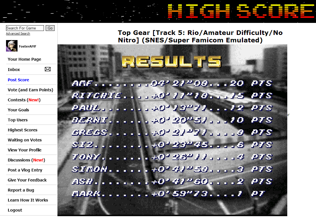 FosterAMF: Top Gear [Track 5: Rio/Amateur Difficulty/No Nitro] (SNES/Super Famicom Emulated) 0:04:21.08 points on 2014-06-16 19:09:26