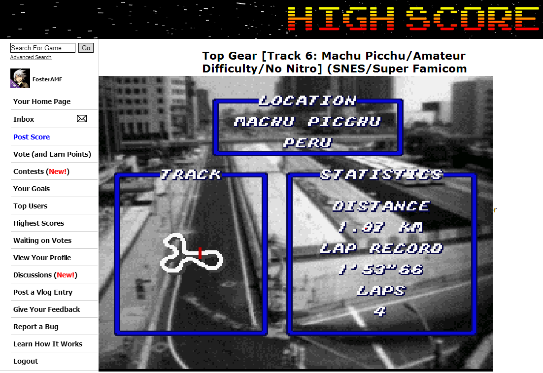 FosterAMF: Top Gear [Track 6: Machu Picchu/Amateur Difficulty/No Nitro] (SNES/Super Famicom Emulated) 0:01:53.23 points on 2014-06-16 19:17:57