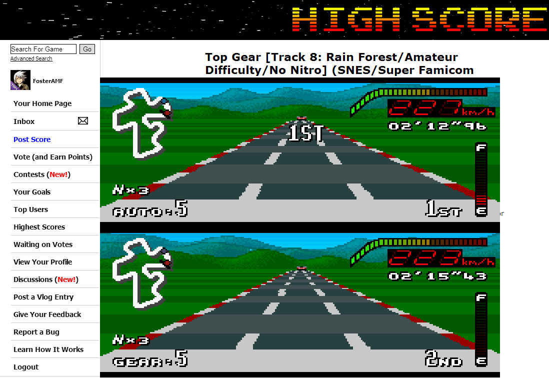 FosterAMF: Top Gear [Track 8: Rain Forest/Amateur Difficulty/No Nitro] (SNES/Super Famicom Emulated) 0:02:12.96 points on 2014-06-16 19:33:58