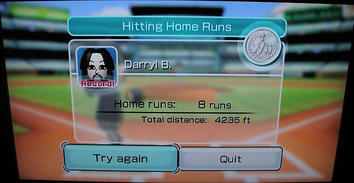 DarrylB: Wii Sports: Baseball [Home Runs: Total Feet] (Wii) 4,235 points on 2014-06-17 10:59:31