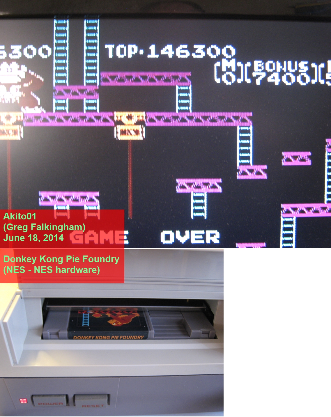 Akito01: Donkey Kong Original Edition [Game A] (NES/Famicom) 146,300 points on 2014-06-18 19:25:03
