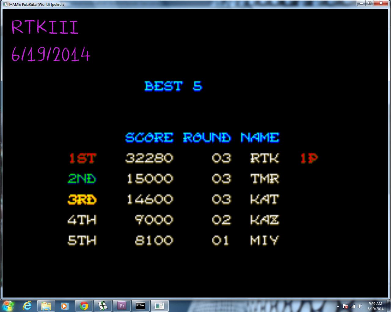 rtkiii: PuLiRuLa [pulirula] (Arcade Emulated / M.A.M.E.) 32,280 points on 2014-06-19 09:02:07