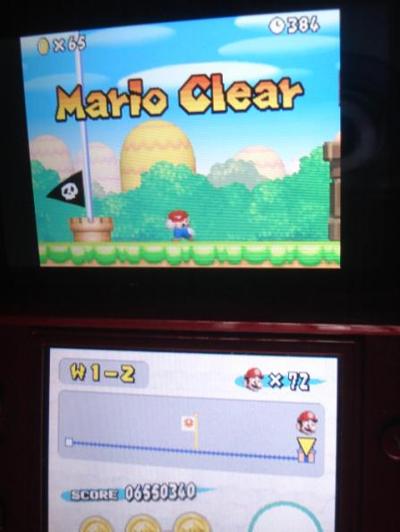 New Super Mario Bros.: World 1-2 [Remaining Time] 384 points