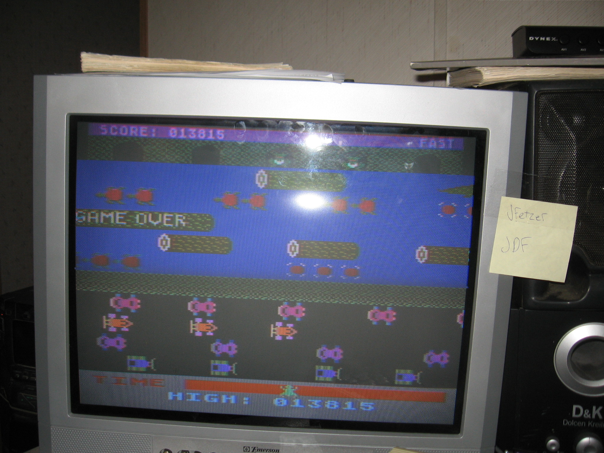 jfetzer: Frogger: Fast [Sierra Online/John Harris] (Atari 400/800/XL/XE) 13,815 points on 2014-06-19 19:36:11