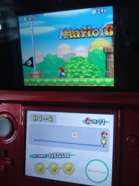 New Super Mario Bros.: World 1-4 [Remaining Time] 390 points