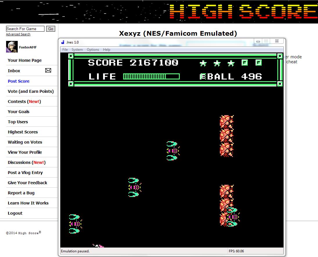 FosterAMF: Xexyz (NES/Famicom Emulated) 2,167,100 points on 2014-06-20 01:59:58