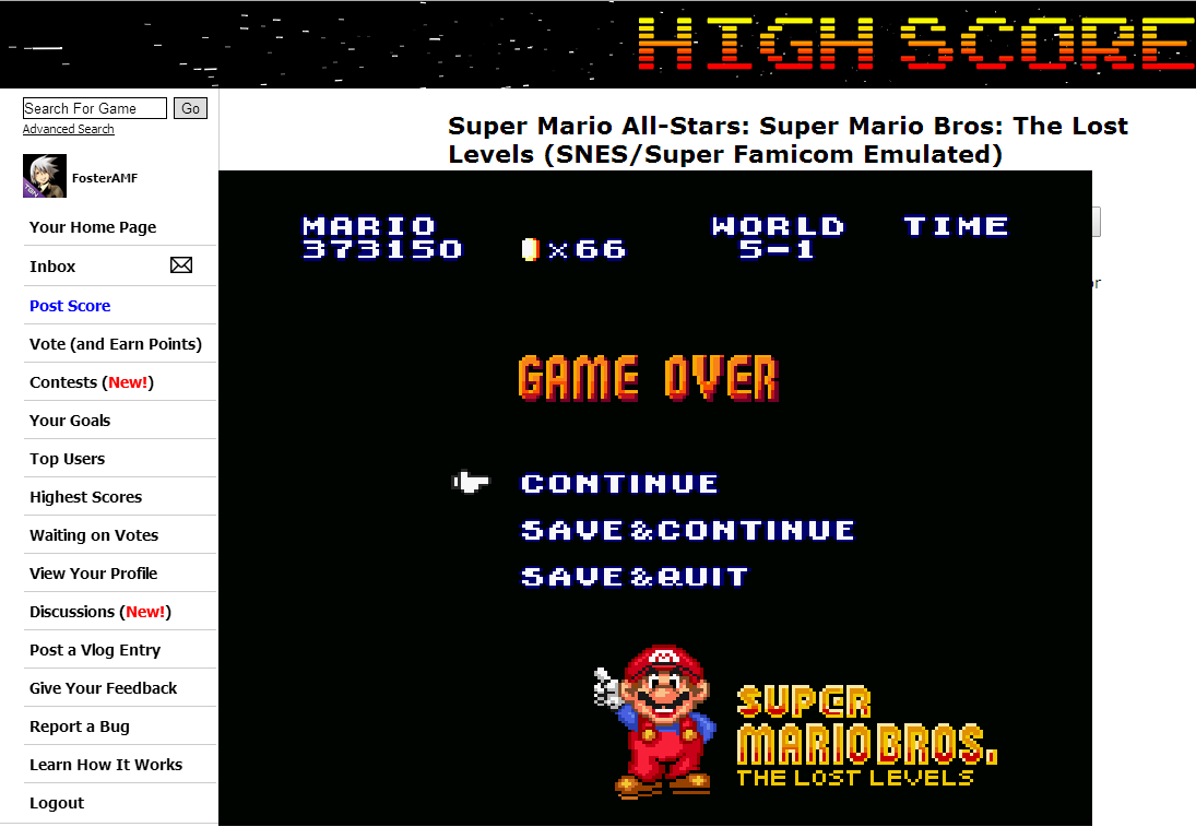 FosterAMF: Super Mario All-Stars: Super Mario Bros: The Lost Levels (SNES/Super Famicom Emulated) 373,150 points on 2014-06-20 18:21:36