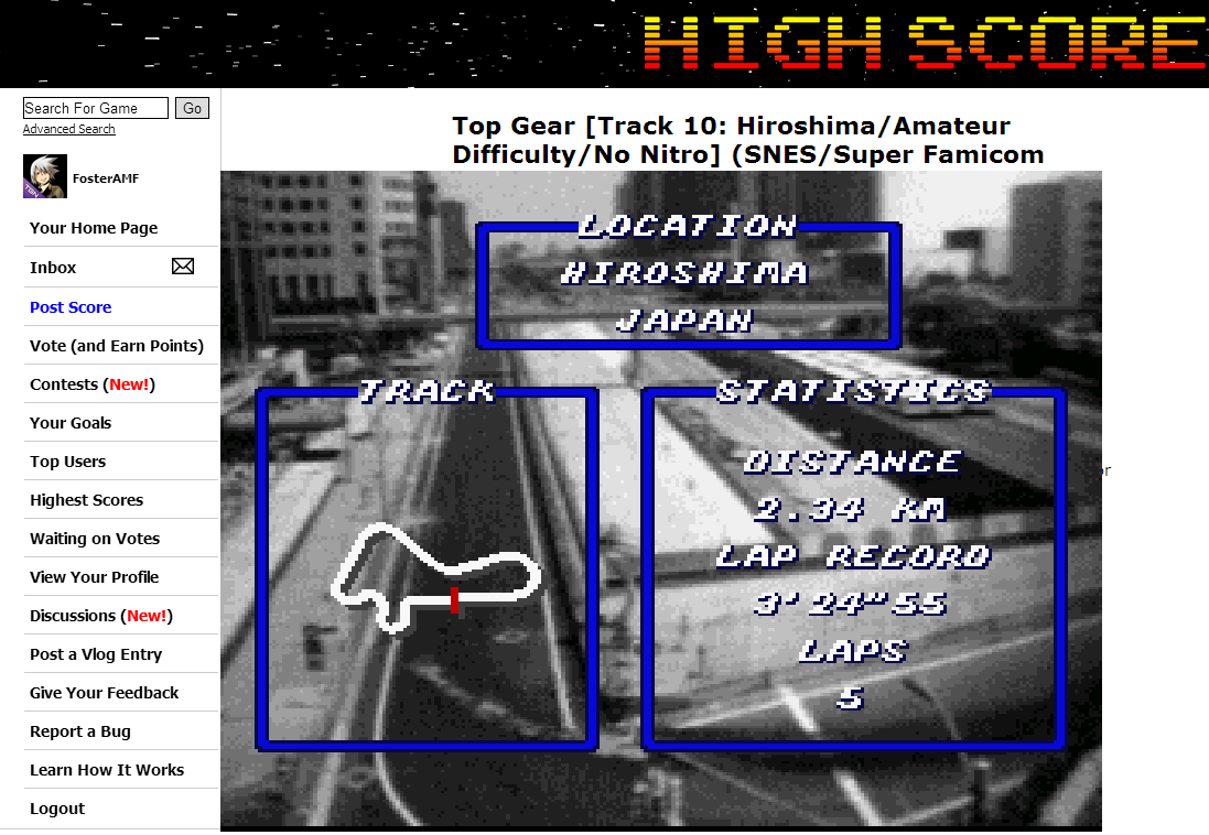 FosterAMF: Top Gear [Track 10: Hiroshima/Amateur Difficulty/No Nitro] (SNES/Super Famicom Emulated) 0:03:24.05 points on 2014-06-21 22:07:09
