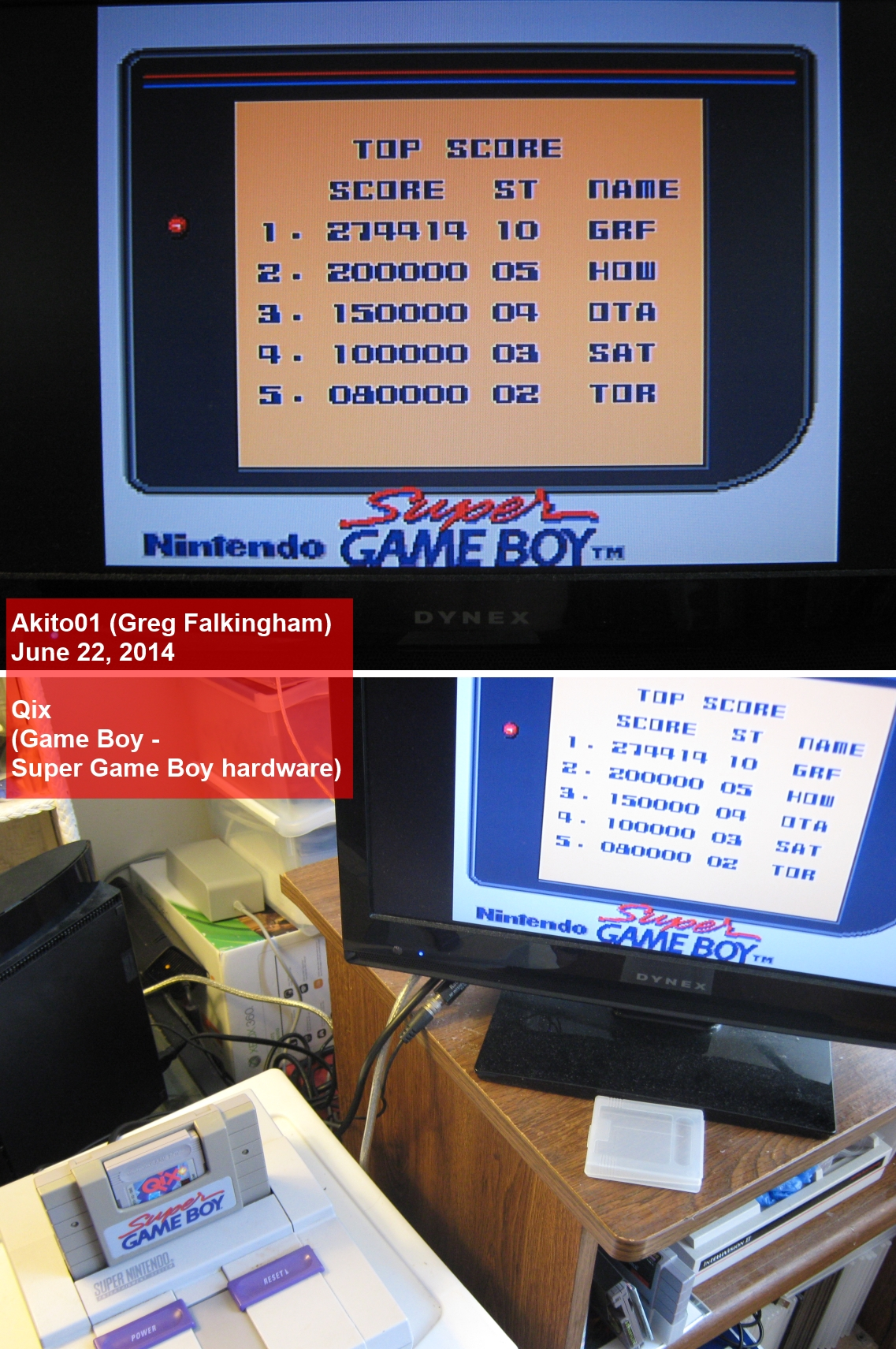 Akito01: Qix (Game Boy) 274,414 points on 2014-06-22 10:42:44
