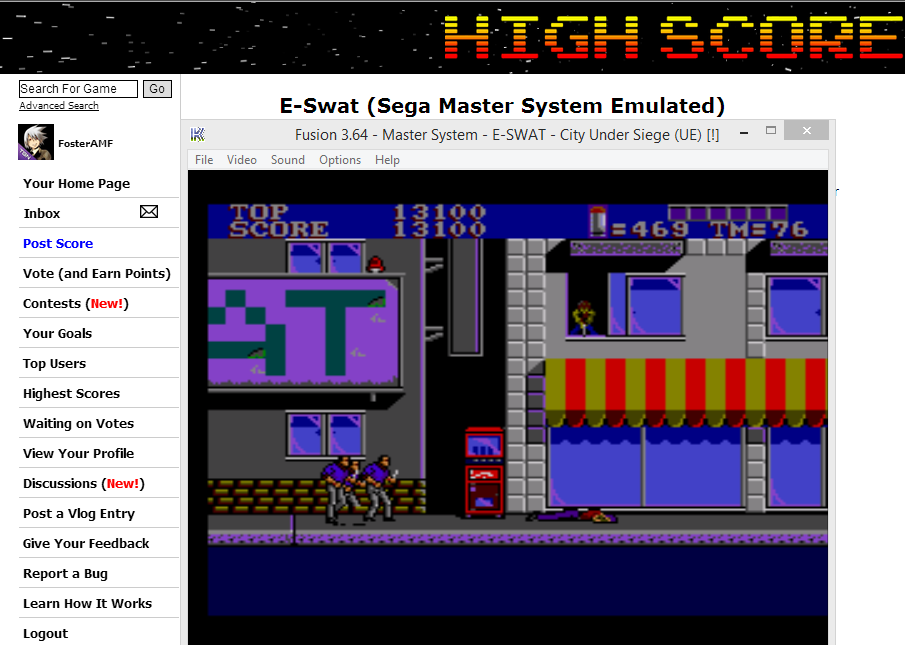 FosterAMF: E-Swat (Sega Master System Emulated) 13,100 points on 2014-06-22 16:23:33