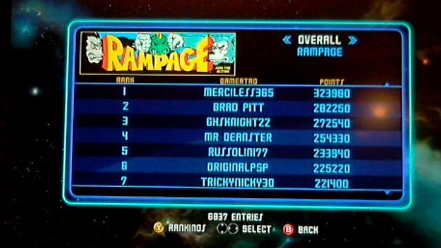 merciless365: Midway Arcade Origins: Rampage (Xbox 360) 323,980 points on 2014-06-23 10:37:53