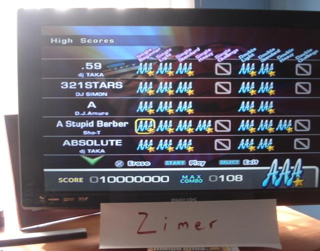 Zimer: DDR Extreme: A Stupid Barber [Single/Beginner] (Playstation 2) 10,000,000 points on 2014-06-23 23:04:18