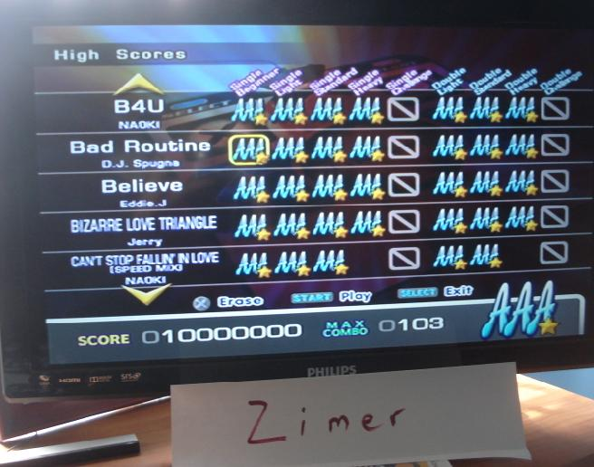 Zimer: DDR Extreme: Bad Routine [Single/Beginner] (Playstation 2) 10,000,000 points on 2014-06-23 23:06:59