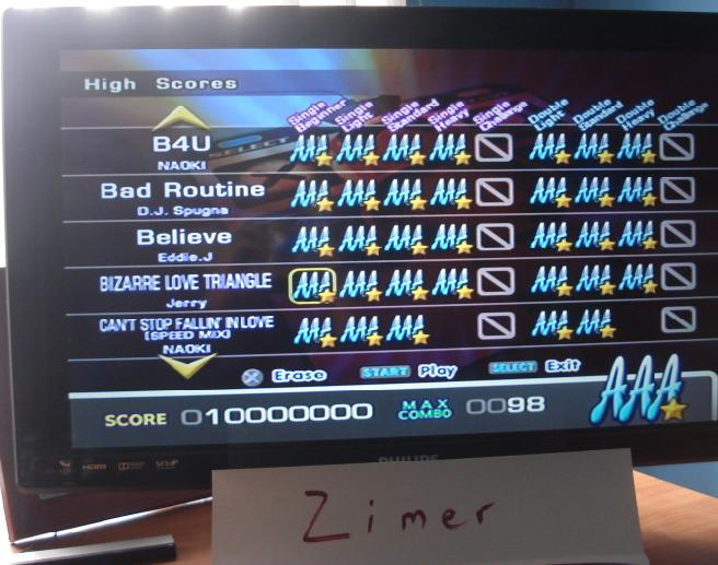 Zimer: DDR Extreme: Bizarre Love Triangle [Single/Beginner] (Playstation 2) 10,000,000 points on 2014-06-23 23:07:53