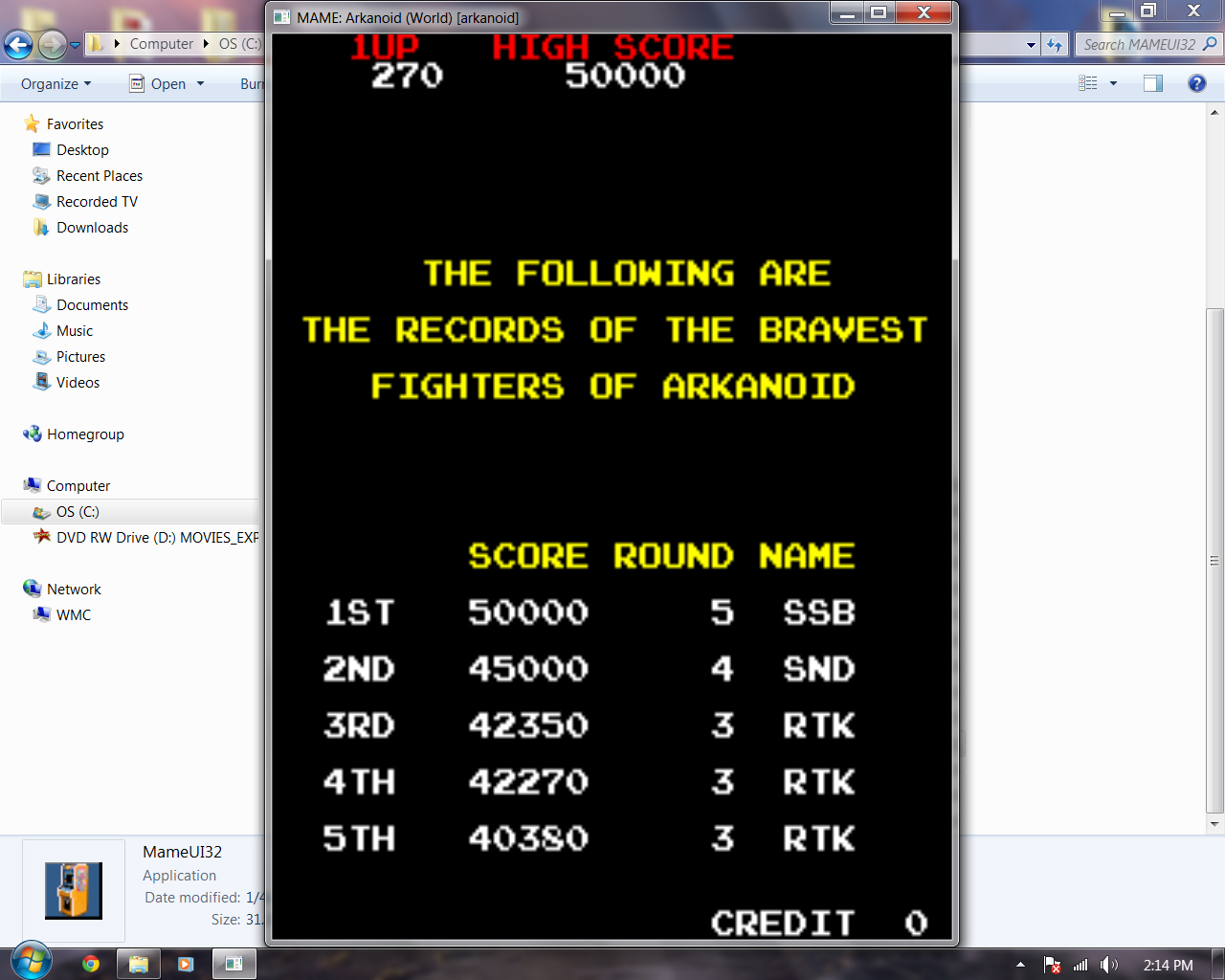rtkiii: Arkanoid (Arcade Emulated / M.A.M.E.) 42,350 points on 2014-06-24 14:53:30