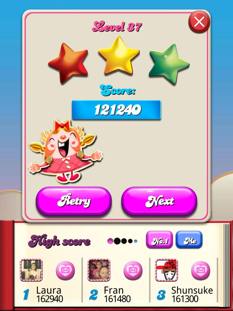 Candy Crush Saga: Level 037 121,240 points