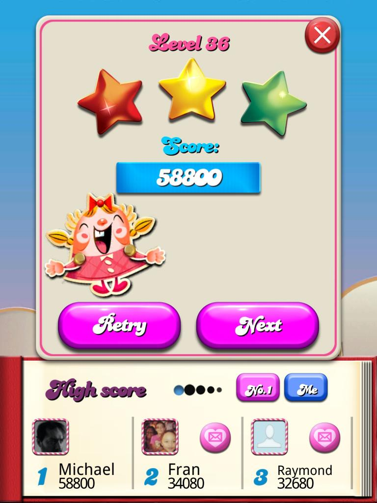 Candy Crush Saga: Level 036 58,800 points
