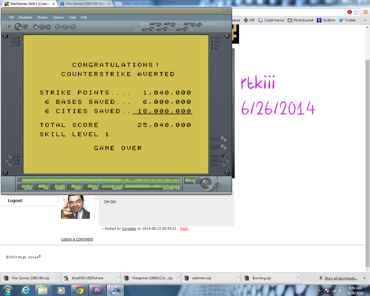 rtkiii: WarGames: Skill 1 (Colecovision Emulated) 25,040,000 points on 2014-06-26 08:55:06