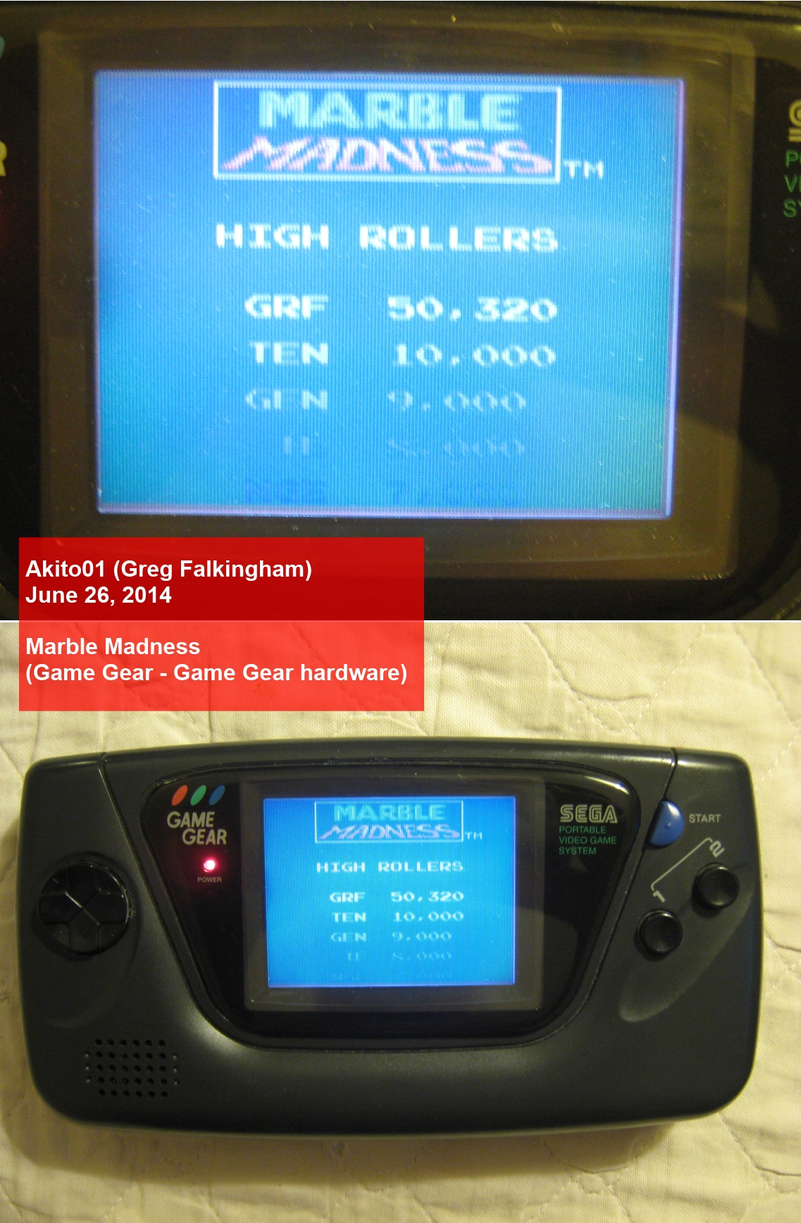 Akito01: Marble Madness (Sega Game Gear) 50,320 points on 2014-06-26 21:21:57