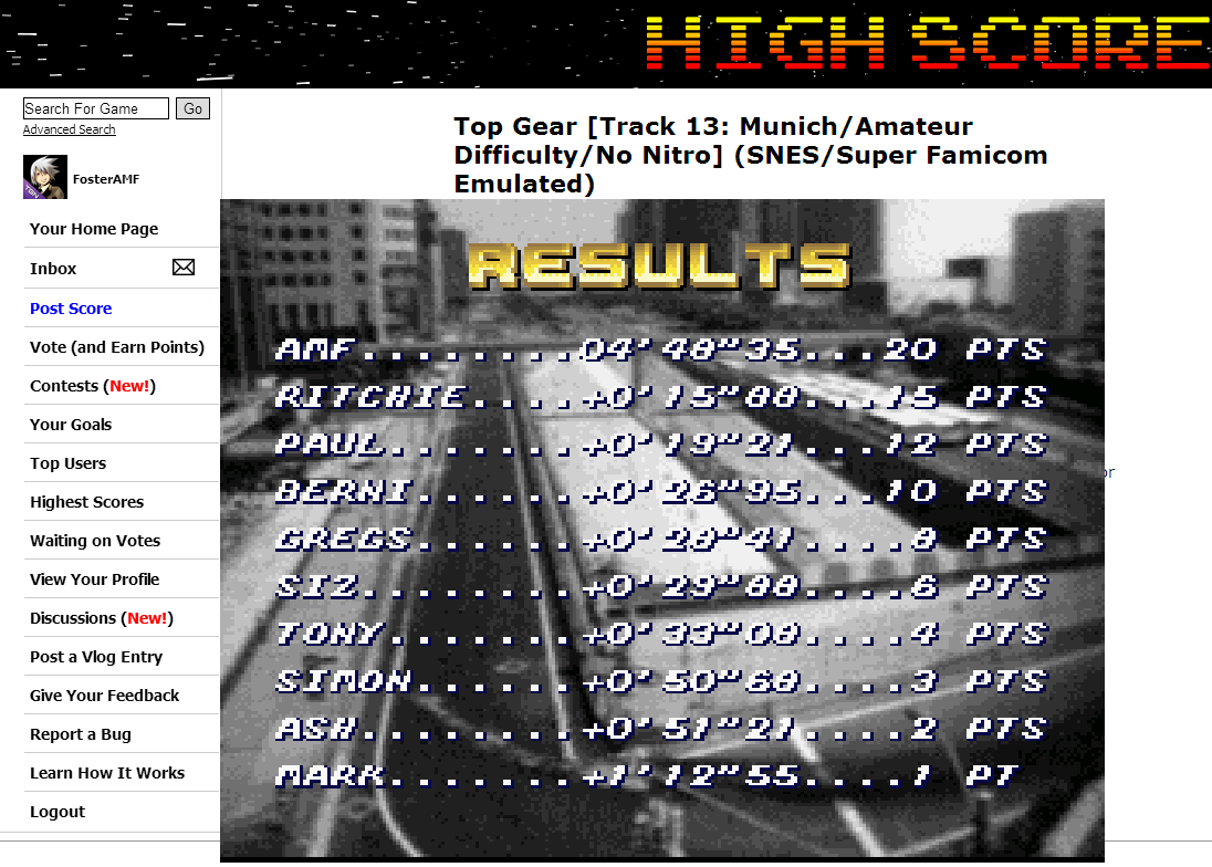 FosterAMF: Top Gear [Track 13: Munich/Amateur Difficulty/No Nitro] (SNES/Super Famicom Emulated) 0:04:48.35 points on 2014-06-27 19:52:21