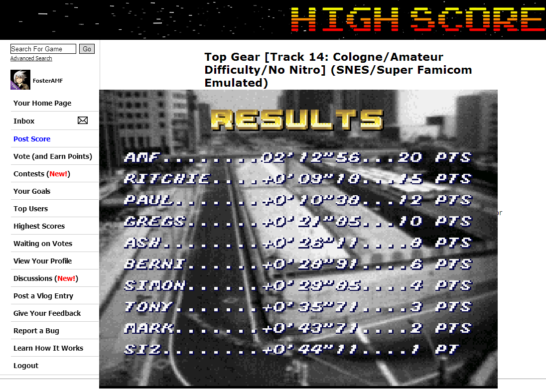 FosterAMF: Top Gear [Track 14: Cologne/Amateur Difficulty/No Nitro] (SNES/Super Famicom Emulated) 0:02:12.56 points on 2014-06-27 19:59:14