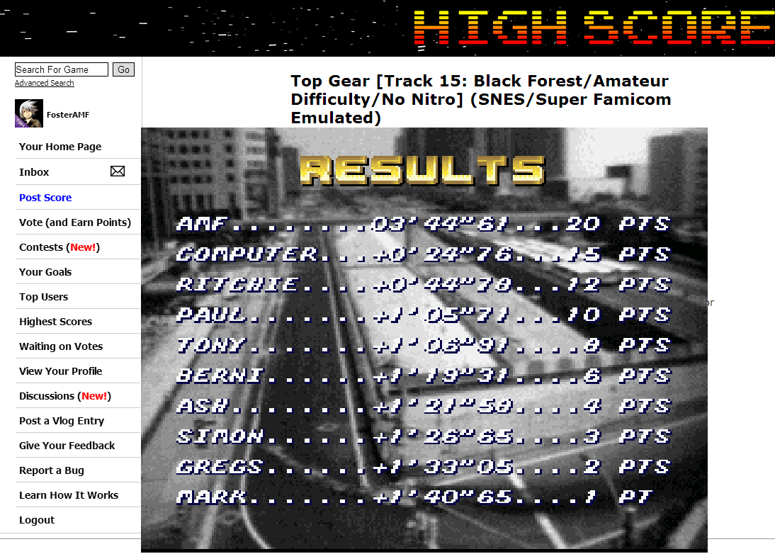 FosterAMF: Top Gear [Track 15: Black Forest/Amateur Difficulty/No Nitro] (SNES/Super Famicom Emulated) 0:03:44.61 points on 2014-06-27 20:11:38