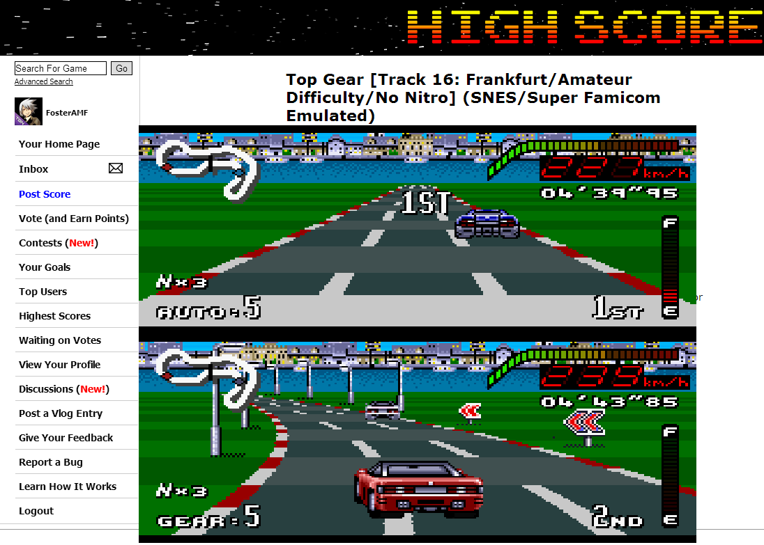 FosterAMF: Top Gear [Track 16: Frankfurt/Amateur Difficulty/No Nitro] (SNES/Super Famicom Emulated) 0:04:39.95 points on 2014-06-27 20:20:38