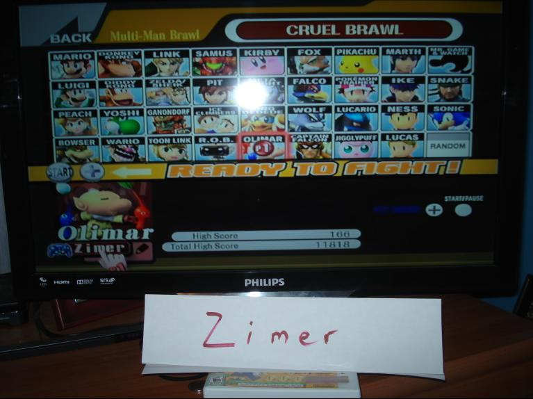 Super Smash Bros. Brawl: Cruel Brawl: Olimar 166 points