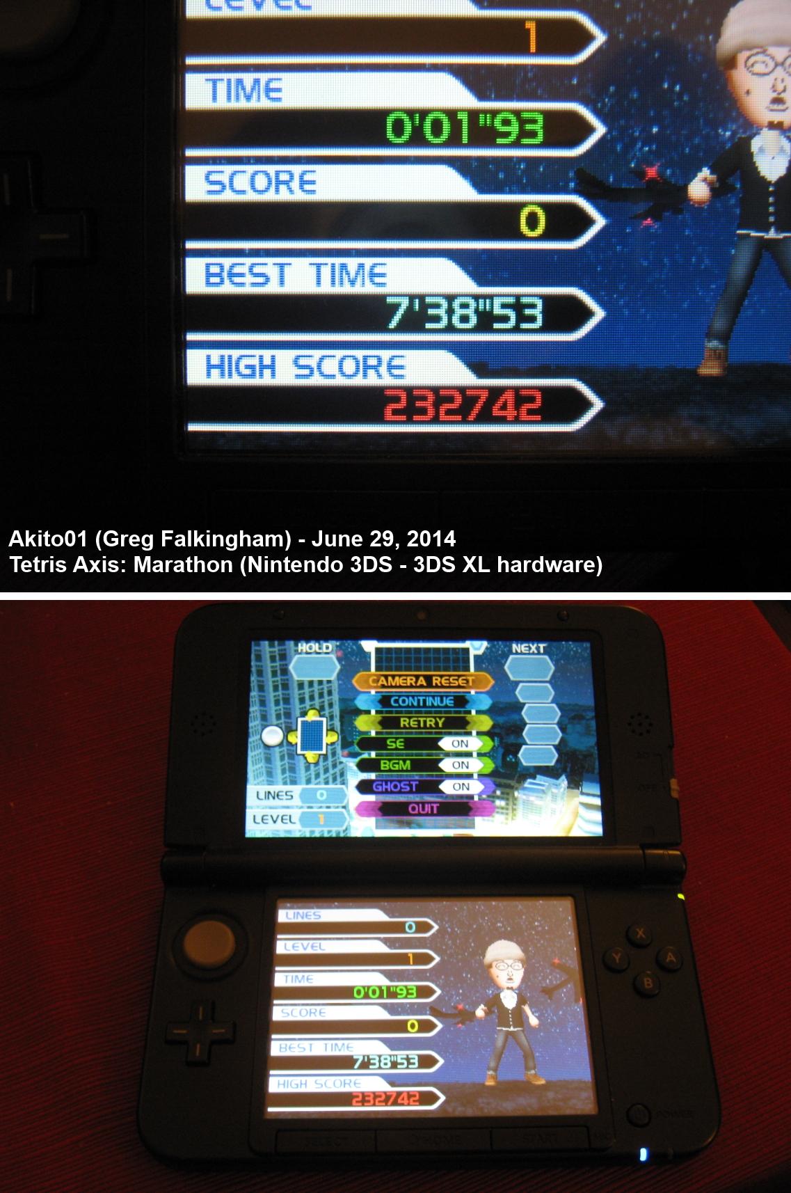 Tetris: Axis [Marathon Mode] 232,742 points