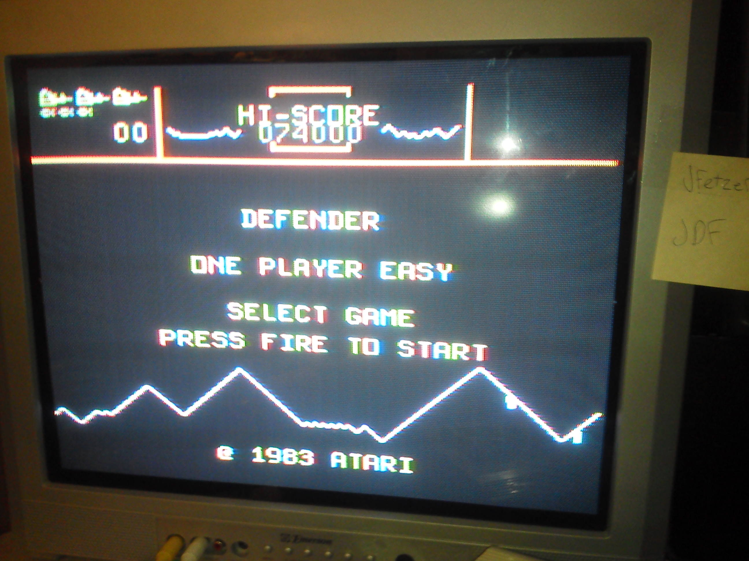 jfetzer: Defender (TI 99/4A) 74,000 points on 2014-06-29 18:36:56