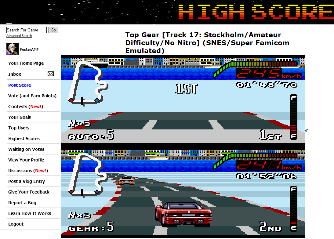 FosterAMF: Top Gear [Track 17: Stockholm/Amateur Difficulty/No Nitro] (SNES/Super Famicom Emulated) 0:01:48.7 points on 2014-06-30 14:36:23