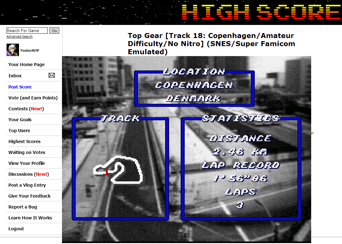 FosterAMF: Top Gear [Track 18: Copenhagen/Amateur Difficulty/No Nitro] (SNES/Super Famicom Emulated) 0:01:58.18 points on 2014-06-30 14:42:36