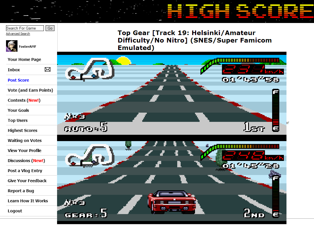 FosterAMF: Top Gear [Track 19: Helsinki/Amateur Difficulty/No Nitro] (SNES/Super Famicom Emulated) 0:01:43.58 points on 2014-06-30 14:49:08