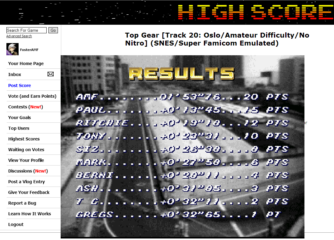 FosterAMF: Top Gear [Track 20: Oslo/Amateur Difficulty/No Nitro] (SNES/Super Famicom Emulated) 0:01:53.76 points on 2014-06-30 14:54:50