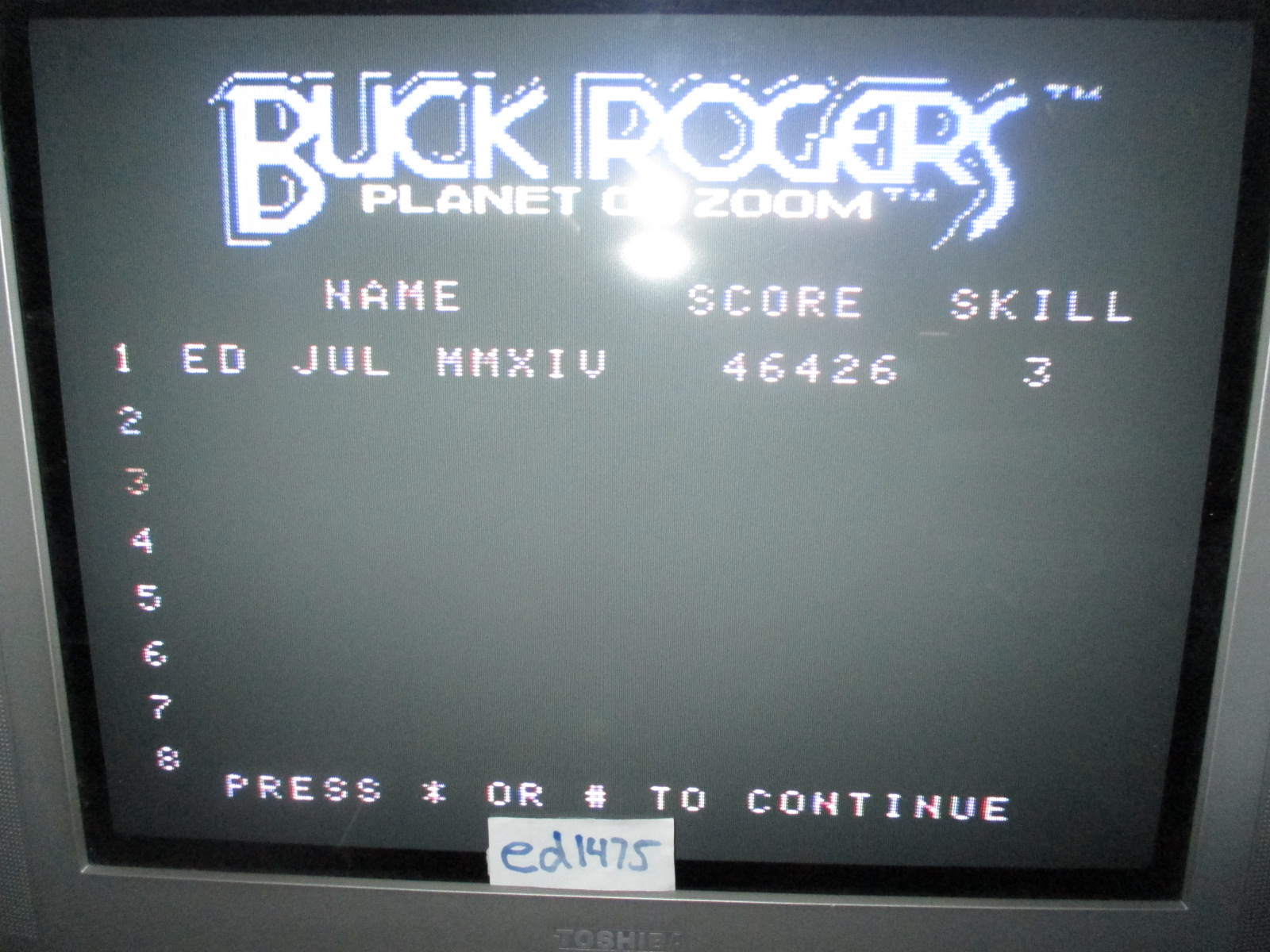 ed1475: Buck Rogers Super Game: Skill 3 (Colecovision) 46,426 points on 2014-07-01 19:47:36