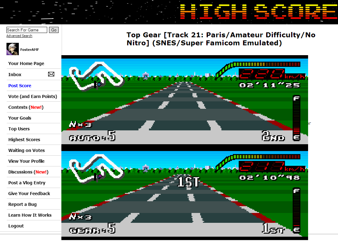 FosterAMF: Top Gear [Track 21: Paris/Amateur Difficulty/No Nitro] (SNES/Super Famicom Emulated) 0:02:11.25 points on 2014-07-02 13:16:06