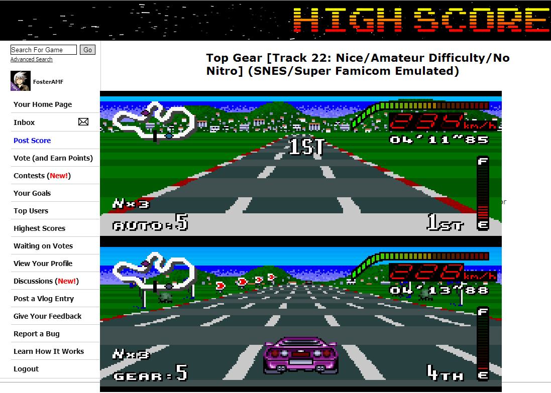 FosterAMF: Top Gear [Track 22: Nice/Amateur Difficulty/No Nitro] (SNES/Super Famicom Emulated) 0:04:11.85 points on 2014-07-02 13:26:58