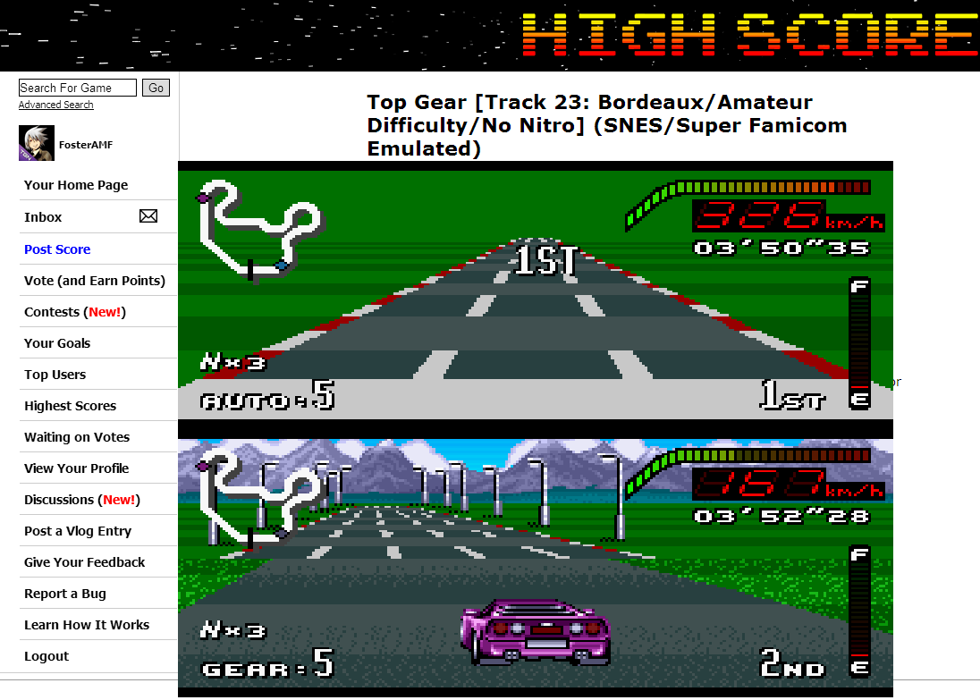 FosterAMF: Top Gear [Track 23: Bordeaux/Amateur Difficulty/No Nitro] (SNES/Super Famicom Emulated) 0:03:50.35 points on 2014-07-02 13:39:09