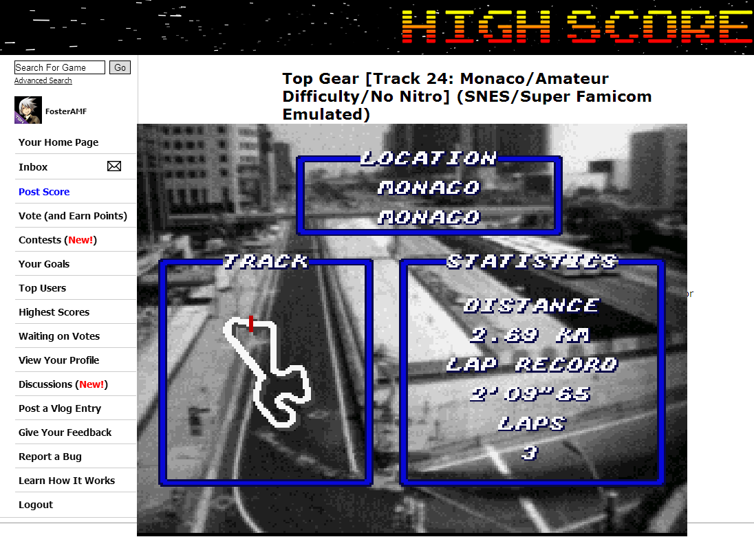 FosterAMF: Top Gear [Track 24: Monaco/Amateur Difficulty/No Nitro] (SNES/Super Famicom Emulated) 0:02:15.25 points on 2014-07-02 13:46:22