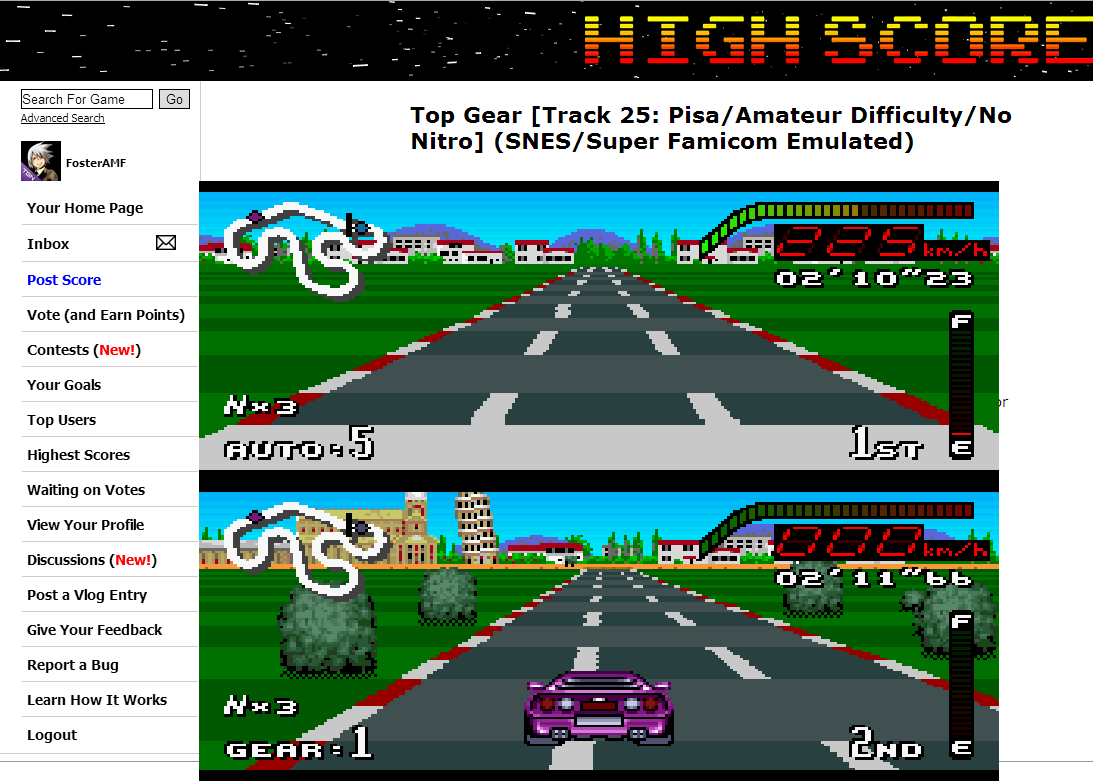 FosterAMF: Top Gear [Track 25: Pisa/Amateur Difficulty/No Nitro] (SNES/Super Famicom Emulated) 0:02:10.23 points on 2014-07-02 13:53:19