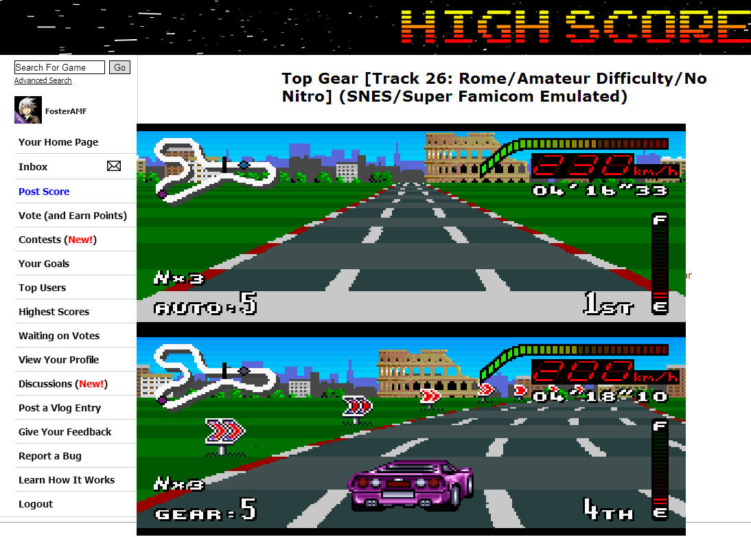 FosterAMF: Top Gear [Track 26: Rome/Amateur Difficulty/No Nitro] (SNES/Super Famicom Emulated) 0:04:16.33 points on 2014-07-02 14:01:44