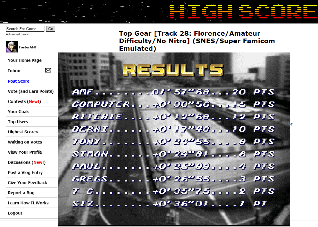 FosterAMF: Top Gear [Track 28: Florence/Amateur Difficulty/No Nitro] (SNES/Super Famicom Emulated) 0:01:57.68 points on 2014-07-02 14:12:37