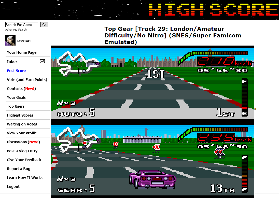 FosterAMF: Top Gear [Track 29: London/Amateur Difficulty/No Nitro] (SNES/Super Famicom Emulated) 0:05:46.8 points on 2014-07-02 14:25:59