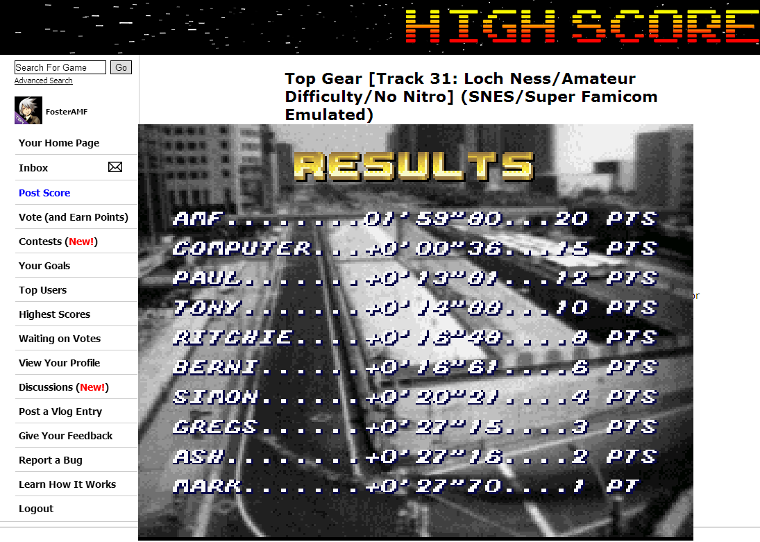 FosterAMF: Top Gear [Track 31: Loch Ness/Amateur Difficulty/No Nitro] (SNES/Super Famicom Emulated) 0:01:59.8 points on 2014-07-02 14:35:41