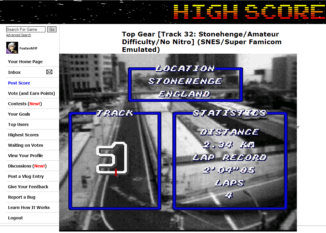 FosterAMF: Top Gear [Track 32: Stonehenge/Amateur Difficulty/No Nitro] (SNES/Super Famicom Emulated) 0:02:30.55 points on 2014-07-02 14:40:05