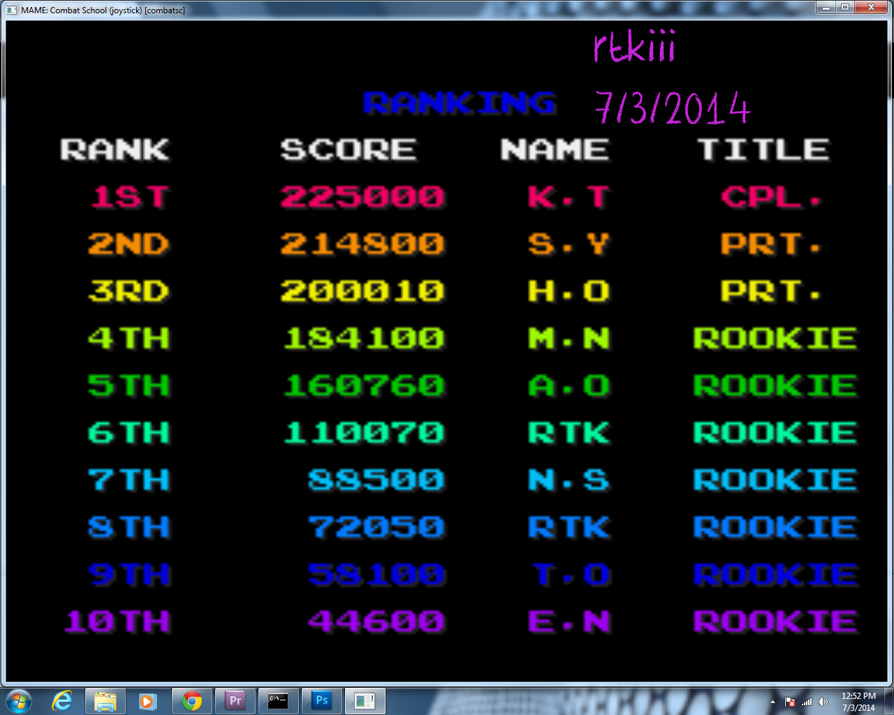 rtkiii: Combat School [combatsc] (Arcade Emulated / M.A.M.E.) 110,070 points on 2014-07-03 11:47:05