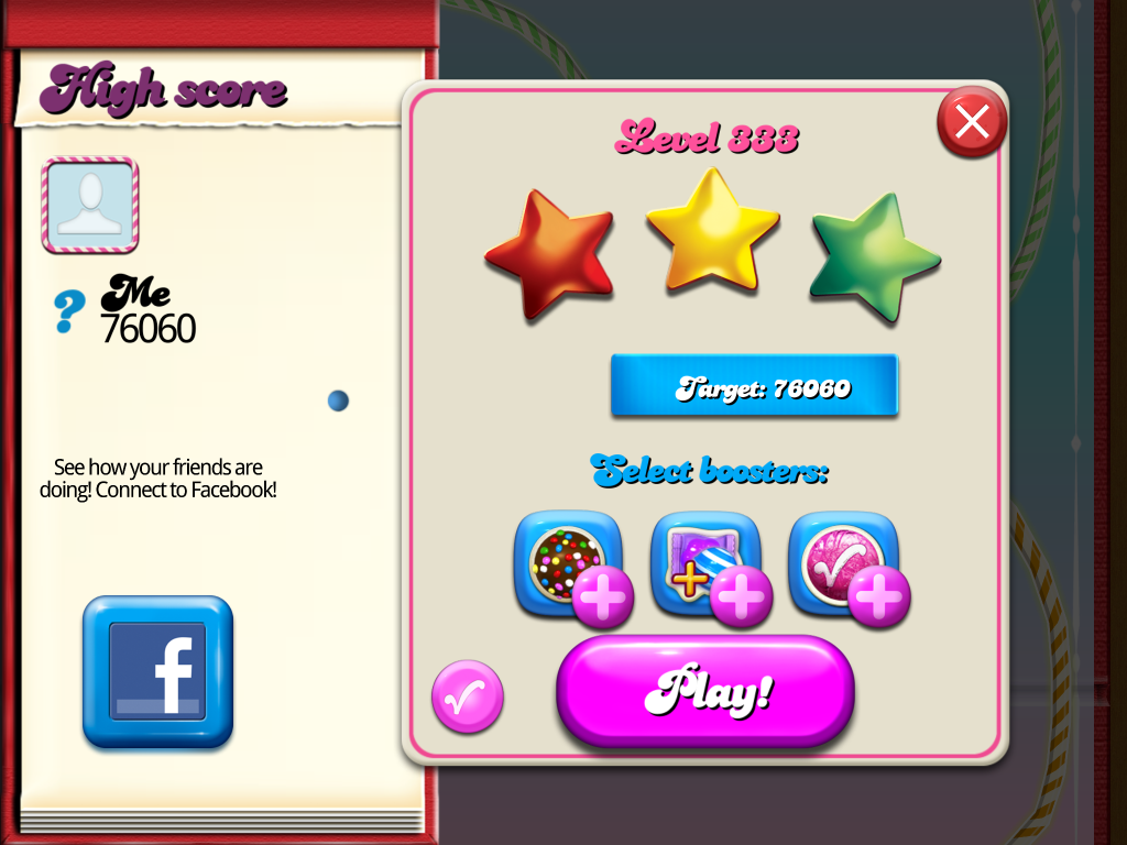 Candy Crush Saga: Level 333 76,060 points