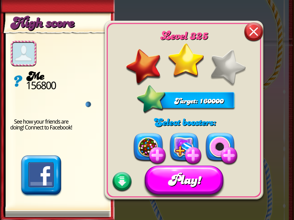 Candy Crush Saga: Level 325 156,800 points